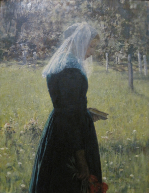 George Hitchcock (American, 1850-1913). <em>Girl on Her Way to Church</em>, 1891. Oil on canvas, 23 9/16 x 18 3/4 in. (59.9 x 47.7 cm). Brooklyn Museum, Bequest of Clara L. Obrig, 31.197 (Photo: Brooklyn Museum, CUR.31.197_cropped.jpg)