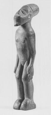 Mangbetu. <em>Standing Figure</em>, late 19th-early 20th century. Wood, 5 1/4 x 1 1/8 x 1 3/4 in. (13.2 x 2.8 x 4.5 cm). Brooklyn Museum, Museum Expedition 1931, Robert B. Woodward Memorial Fund, 31.2031. Creative Commons-BY (Photo: Brooklyn Museum, CUR.31.2031_print_threequarter_bw.jpg)