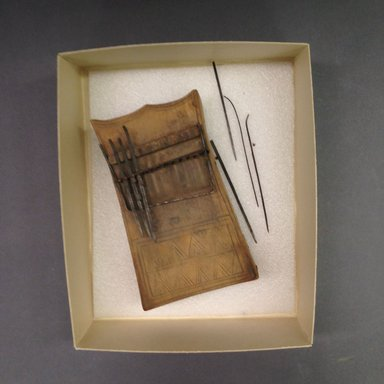 Possibly Mangbetu. <em>Sanza with Metal Keys</em>, early 20th century. Wood, metal, 2 1/4 x 8 x 4 3/4 in. (5.7 x 20.3 x 12.1 cm). Brooklyn Museum, Museum Expedition 1931 Robert B. Woodward Memorial Fund, 31.2033. Creative Commons-BY (Photo: Brooklyn Museum, CUR.31.2033.jpg)