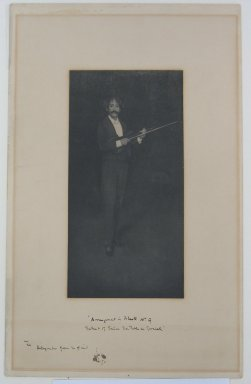 James Abbott McNeill Whistler (American, 1834-1903). <em>Arrangement in Black, Number Nine (Portrait of Señor Don Pablo de Sarasate)</em>. Photograph, Sheet: 12 7/8 x 8 1/16 in. (32.7 x 20.5 cm). Brooklyn Museum, Gift of Mrs. John White Alexander, 31.213 (Photo: Brooklyn Museum, CUR.31.213.jpg)
