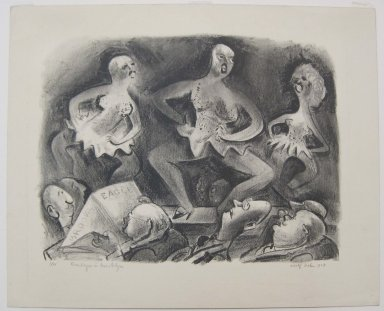 Adolf Arthur Dehn (American, 1895-1968). <em>Burlesque in Brooklyn</em>, 1929. Lithograph on cream-colored wove paper, Image: 13 3/8 x 17 1/2 in. (34 x 44.5 cm). Brooklyn Museum, Gift of Mrs. Albert de Silver, 31.590. © artist or artist's estate (Photo: Brooklyn Museum, CUR.31.590.jpg)