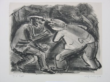 Adolf Arthur Dehn (American, 1895-1968). <em>Fight</em>, 1930. Lithograph on China paper laid down mounted to paperboard, Sheet: 9 1/16 x 11 1/2 in. (23 x 29.2 cm). Brooklyn Museum, Gift of Mrs. Albert de Silver, 31.595. © artist or artist's estate (Photo: Brooklyn Museum, CUR.31.595.jpg)
