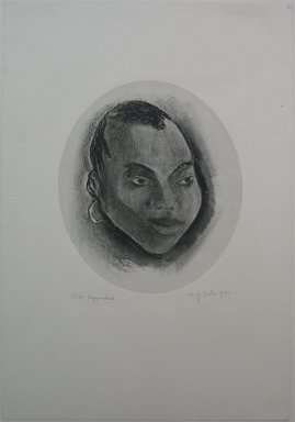 Adolf Arthur Dehn (American, 1895-1968). <em>Negress Head</em>, 1930. Lithograph on grey China paper laid down, Sheet: 19 3/4 x 13 5/8 in. (50.2 x 34.6 cm). Brooklyn Museum, Gift of Mrs. Albert de Silver, 31.601. © artist or artist's estate (Photo: Brooklyn Museum, CUR.31.601.jpg)