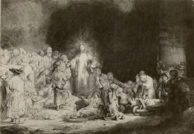 Rembrandt Harmensz. van Rijn (Dutch, 1606-1669). <em>Christ Preaching (The Hundred Guilder Print)</em>, ca. 1649. Etching on laid paper, Plate: 11 x 15 5/8 in. (27.9 x 39.7 cm). Brooklyn Museum, Gift of Mr. and Mrs. William A. Putnam, 31.779 (Photo: Brooklyn Museum, CUR.31.779.jpg)