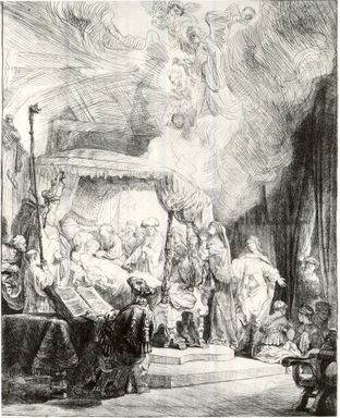 Rembrandt Harmensz. van Rijn (Dutch, 1606-1669). <em>The Death of the Virgin</em>, 1639. Etching and drypoint on laid paper, Plate: 16 1/8 x 12 3/8 in. (41 x 31.4 cm). Brooklyn Museum, Gift of Mr. and Mrs. William A. Putnam, 31.782 (Photo: Brooklyn Museum, CUR.31.782.jpg)