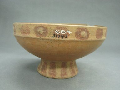 <em>Bowl with Pedestal Base</em>, 300-800. Ceramic, pigment, 4 1/16 x 7 5/8 x 7 1/2 in. (10.3 x 19.4 x 19.1 cm). Brooklyn Museum, Gift of Mrs. Minor C. Keith in memory of her husband, 31743. Creative Commons-BY (Photo: Brooklyn Museum, CUR.31743_view1.jpg)