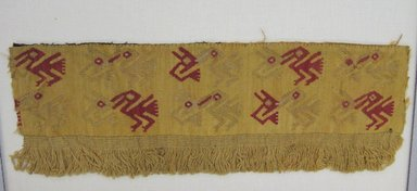 Chancay. <em>Textile Fragment, possible Border</em>, 1000-1532. Cotton, camelid fiber, 5 × 14 3/4 in. (12.7 × 37.5 cm). Brooklyn Museum, Gift of George D. Pratt, 32.187. Creative Commons-BY (Photo: Brooklyn Museum, CUR.32.187.jpg)