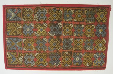 Possibly Nazca. <em>Panel</em>. Cotton, camelid fiber, 19 11/16 x 31 1/2 in. (50 x 80 cm). Brooklyn Museum, Gift of George D. Pratt, 32.1953. Creative Commons-BY (Photo: Brooklyn Museum, CUR.32.1953.jpg)