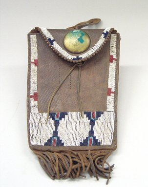 Cheyenne. <em>Beaded and Fringed Bag</em>. Leather, beads, metal Brooklyn Museum, Bequest of W.S. Morton Mead, 32.2099.32543. Creative Commons-BY (Photo: Brooklyn Museum, CUR.32.2099.32543_view1.jpg)