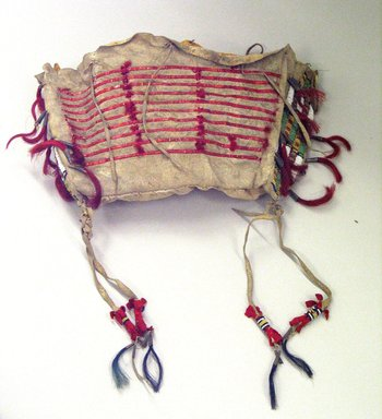 Blackfoot. <em>Beaded and Quilled Bag</em>, 1880-1930. Beads, buckskin, quills, muslin, tin, horsehair, sinew, cotton thread, 13 x 8 1/2 x 3 1/2 in. (33 x 21.6 x 8.9 cm). Brooklyn Museum, Bequest of W.S. Morton Mead, 32.2099.32550. Creative Commons-BY (Photo: Brooklyn Museum, CUR.32.2099.32550_view1.jpg)