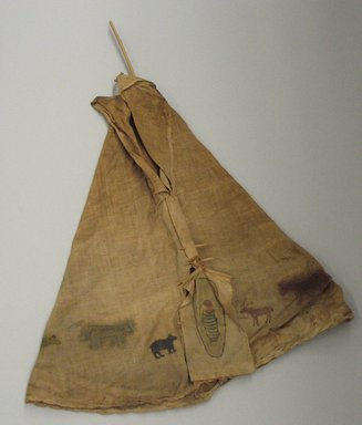Blackfoot. <em>Toy Tipi with Pole</em>, early 20th century. Wood, fabric, pigment Brooklyn Museum, Bequest of W.S. Morton Mead, 32.2099.32553. Creative Commons-BY (Photo: Brooklyn Museum, CUR.32.2099.32553_view1.jpg)