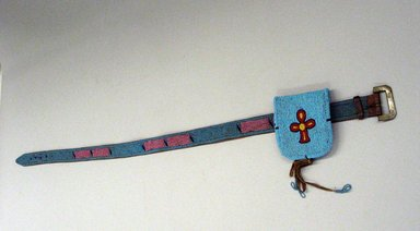 Blackfoot. <em>Tourquoise Blue Beaded Belt with Pouch</em>, first quarter 20th century. Beads, commercial leather Brooklyn Museum, Bequest of W.S. Morton Mead, 32.2099.32572. Creative Commons-BY (Photo: Brooklyn Museum, CUR.32.2099.32572_view1.jpg)