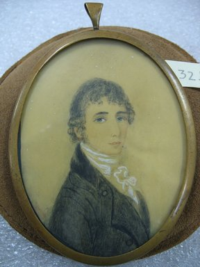Unknown. <em>Portrait of a Young Man after Richard Cosway (English, 1742-1821)</em>, n.d. Watercolor on ivory portrait in brass frame under glass, Image (sight): 3 1/2 x 2 11/16 in. (8.9 x 6.8 cm). Brooklyn Museum, Bequest of Margaret S. Bedell, 32.466 (Photo: Brooklyn Museum, CUR.32.466.jpg)