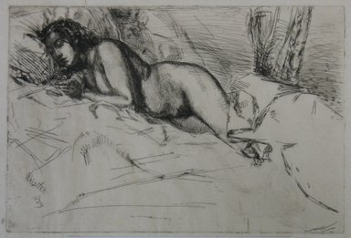 James Abbott McNeill Whistler (American, 1834-1903). <em>Venus</em>, 1859. Etching, Sheet: 9 11/16 x 12 7/8 in. (24.6 x 32.7 cm). Brooklyn Museum, Gift of the Estate of Emil Fuchs, 32.483 (Photo: Brooklyn Museum, CUR.32.483.jpg)