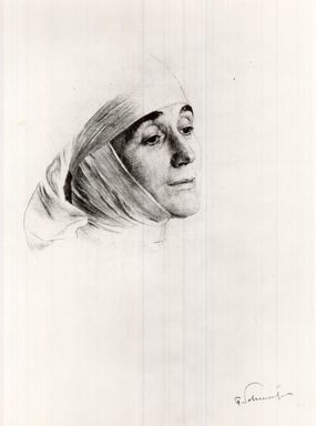 Ferdinand Schmutzer (Austrian, 1870-1928). <em>The Nun</em>. Drypoint on wove paper, 9 13/16 x 6 5/8 in. (25 x 16.9 cm). Brooklyn Museum, Gift of the Estate of Emil Fuchs, 32.485 (Photo: Brooklyn Museum, CUR.32.485.jpg)