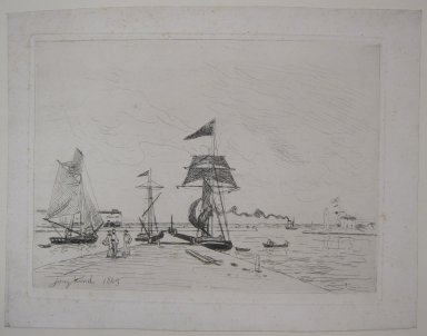 Johan Barthold Jongkind (Dutch, 1819-1891). <em>Jetee en bois dans le port de Honfleur</em>, 1865. Etching and drypoint on China paper laid down, 9 7/16 x 12 5/8 in. (23.9 x 32 cm). Brooklyn Museum, Gift of the Estate of Emil Fuchs, 32.520 (Photo: Brooklyn Museum, CUR.32.520.jpg)