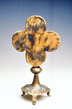 <em>Reliquary in the Form of a Quatrefoil Cross</em>, 13th century (cross), 9th century (?) (base). Sculpture, 10 3/4 in. (27.3 cm). Brooklyn Museum, Gift of the executors of the Estate of Colonel Michael Friedsam, 32.615. Creative Commons-BY (Photo: Brooklyn Museum, CUR.32.615_back.jpg)