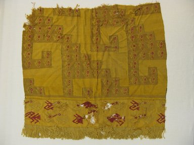 Chancay. <em>Textile Fragment, undetermined</em>, 1000-1532. Cotton, camelid fiber, 16 9/16 x 17 5/16 in. (42 x 44 cm). Brooklyn Museum, Gift of George D. Pratt, 32.875. Creative Commons-BY (Photo: Brooklyn Museum, CUR.32.875_view2.jpg)