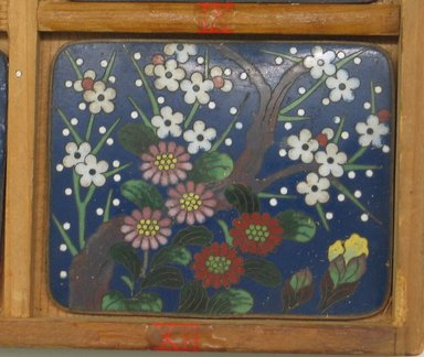 <em>Case Containing Plaques</em>, late 19th-early 20th century. Cloisonne enamel on copper alloy, wooden box, Box: 1 3/16 x 10 13/16 x 12 in. (3 x 27.5 x 30.5 cm). Brooklyn Museum, Museum Collection Fund, 33.287a-n. Creative Commons-BY (Photo: Brooklyn Museum, CUR.33.287_detail4.jpg)