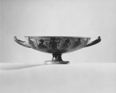 Greek. <em>Black-Figure Kylix</em>, 500-490 B.C.E. Clay, slip, 3 1/8 x total diam. 10 3/8 in. (8 x 26.3 cm). Brooklyn Museum, Frederick Loeser Fund, 33.399. Creative Commons-BY (Photo: , CUR.33.399_NegA_print_bw.jpg)