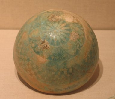 <em>Molded Hemispherical Bowl</em>, 2nd-1st century B.C.E. Faience, glazed, 3 9/16 x Diam. 5 7/8 in. (9 x 15 cm). Brooklyn Museum, Charles Edwin Wilbour Fund, 33.581. Creative Commons-BY (Photo: Brooklyn Museum, CUR.33.581_wwg8.jpg)