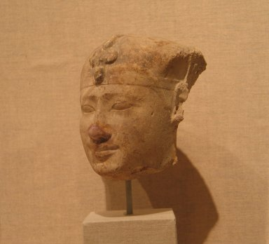<em>Royal Bust</em>, 4th century B.C.E. Plaster, 4 15/16 x 4 15/16 in. (12.6 x 12.5 cm). Brooklyn Museum, Charles Edwin Wilbour Fund, 33.591. Creative Commons-BY (Photo: Brooklyn Museum, CUR.33.591_wwg8.jpg)