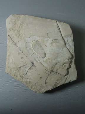 <em>Unfinished Portrait of Nefertiti</em>, ca. 1352-1336 B.C.E. Limestone, pigment, 5 7/16 × 5 1/4 in. (13.8 × 13.3 cm). Brooklyn Museum, Gift of the Egypt Exploration Society, 33.686. Creative Commons-BY (Photo: Brooklyn Museum, CUR.33.686_view01.jpg)