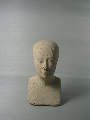 <em>Sculptor's Model of a Head of a Priest</em>. Plaster, 6 1/8 × 3 3/8 × 3 1/4 in. (15.5 × 8.5 × 8.2 cm). Brooklyn Museum, Charles Edwin Wilbour Fund, 34.1006. Creative Commons-BY (Photo: , CUR.34.1006_view01.jpg)