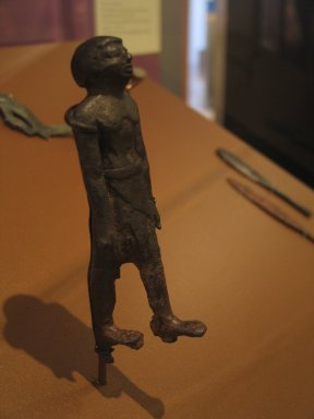 <em>Statuette of Striding Man</em>, ca. 1938-1759 B.C.E. Copper, 4 5/16 x 1 1/4 in. (11 x 3.2 cm). Brooklyn Museum, Charles Edwin Wilbour Fund, 34.1181. Creative Commons-BY (Photo: Brooklyn Museum, CUR.34.1181_erg456.jpg)