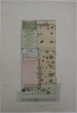 American. <em>Plans of House</em>, 1869. Watercolor and graphite on paper, sheet: 16 1/16 x 11 in. (40.8 x 27.9 cm). Brooklyn Museum, Gift of Emmie B. Butler, 34.1231a (Photo: Brooklyn Museum, CUR.34.1231a.jpg)