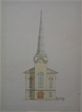 R. J. Beardsley. <em>Elevations of the Facade of Churches</em>, ca. 1869. Watercolor and ink on paper, sheet (b): 15 1/16 x 10 15/16 in. (38.3 x 27.8 cm). Brooklyn Museum, Gift of Emmie B. Butler, 34.1231b-d (Photo: Brooklyn Museum, CUR.34.1231b-d_component_b.jpg)