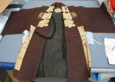 <em>Coat</em>, 19th century. Leather, silk cord, at sleeves: 51 3/16 x 44 7/8 in. (130 x 114 cm). Brooklyn Museum, Brooklyn Museum Collection, 34.1249. Creative Commons-BY (Photo: Brooklyn Museum, CUR.34.1249.jpg)