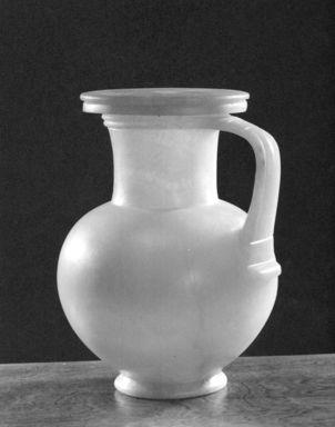 <em>Globular Pitcher with Cover</em>, ca. 1479-1353 B.C.E. Egyptian alabaster, 9 1/4 × Diam. 7 1/2 in. (23.5 × 19 cm). Brooklyn Museum, Charles Edwin Wilbour Fund, 34.1299a-b. Creative Commons-BY (Photo: Brooklyn Museum, CUR.34.1299a-b_NegA_print_bw.jpg)