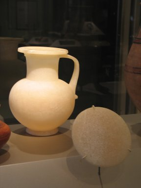 <em>Globular Pitcher with Cover</em>, ca. 1479-1353 B.C.E. Egyptian alabaster, 9 1/4 × Diam. 7 1/2 in. (23.5 × 19 cm). Brooklyn Museum, Charles Edwin Wilbour Fund, 34.1299a-b. Creative Commons-BY (Photo: Brooklyn Museum, CUR.34.1299a-b_erg456.jpg)