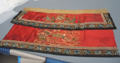 <em>Stage Table Hanging</em>, 19th century. Embroidery - satin, 39 3/8 x 25 9/16 in. (100 x 65 cm). Brooklyn Museum, Brooklyn Museum Collection, 34.1322. Creative Commons-BY (Photo: Brooklyn Museum, CUR.34.1322.jpg)