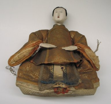 <em>Doll Depicting a Prince (Odairisama)</em>. Silk, wood, porcelain, human hair, 11 x 10 x 5in. (27.9 x 25.4 x 12.7cm). Brooklyn Museum, Brooklyn Museum Collection, 34.1328. Creative Commons-BY (Photo: Brooklyn Museum, CUR.34.1328_front.jpg)