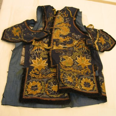 <em>Theatrical Suit of Armor</em>, 19th century. Embroidered cloth cotton, Coat: 28 9/16 x 31 7/8 in. (72.5 x 81 cm). Brooklyn Museum, Brooklyn Museum Collection, 34.1399. Creative Commons-BY (Photo: Brooklyn Museum, CUR.34.1399a.jpg)
