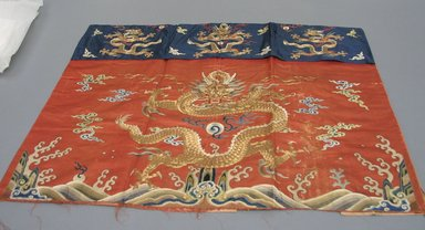 <em>Table Hanging</em>, 19th century. Embroidered satin silk, cloth cotton, B: 39 x 31 7/8 in. (99 x 81 cm). Brooklyn Museum, Brooklyn Museum Collection, 34.1442a. Creative Commons-BY (Photo: Brooklyn Museum, CUR.34.1442a.jpg)