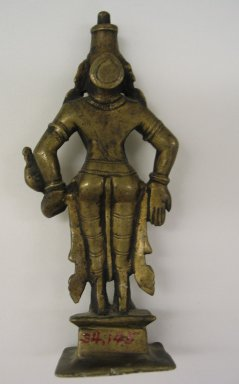 Brahmanical. <em>Small Figure of Visnu?</em>, 17th-18th century. Brass, 6 1/8 x 2 3/4 in. (15.5 x 7 cm). Brooklyn Museum, Brooklyn Museum Collection, 34.145. Creative Commons-BY (Photo: Brooklyn Museum, CUR.34.145_back.jpg)
