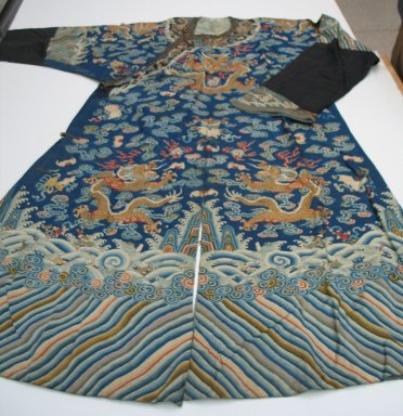 <em>Man's Court Robe with Buttons</em>, mid-19th century. Silk, brass, width at waist: 54 3/4 x 27 3/16 in. (139 x 69 cm). Brooklyn Museum, Brooklyn Museum Collection, 34.1479. Creative Commons-BY (Photo: Brooklyn Museum, CUR.34.1479_overall.jpg)