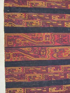 "Paracas Necropolis ""linear"". <em>Mantle, Fragment or Mantle</em>, 100-600 C.E. Cotton, camelid fiber, 83 7/16 x 36 5/8 in.  (212.0 x 93.0 cm). Brooklyn Museum, Alfred W. Jenkins Fund, 34.1584. Creative Commons-BY (Photo: , CUR.34.1584_view02.jpg)"