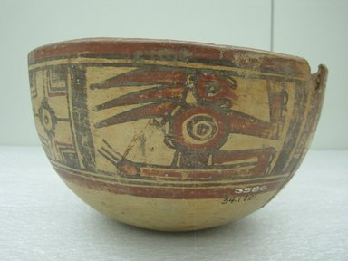 <em>Bowl</em>, 800-1200. Ceramic, pigments, 5 x 8 13/16 x 8 15/16 in. (12.7 x 22.4 x 22.7 cm). Brooklyn Museum, Alfred W. Jenkins Fund, 34.1721. Creative Commons-BY (Photo: Brooklyn Museum, CUR.34.1721_view1.jpg)