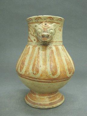 <em>Pear Shaped Vessel</em>, 1000-1350. Ceramic, pigments, 8 5/8 x 6 1/4 x 6 1/4 in. (21.9 x 15.9 x 15.9 cm). Brooklyn Museum, Alfred W. Jenkins Fund, 34.1733. Creative Commons-BY (Photo: Brooklyn Museum, CUR.34.1733_view1.jpg)