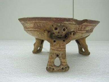<em>Tripod Bowl</em>, 800-1500. Ceramic, pigment, 4 1/4 x 8 1/4 x 8 in. (10.8 x 21 x 20.3 cm). Brooklyn Museum, Alfred W. Jenkins Fund, 34.1874. Creative Commons-BY (Photo: Brooklyn Museum, CUR.34.1874_view1.jpg)