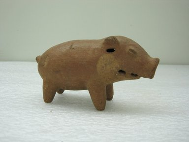 <em>Rattle in the Form of a Peccary</em>. Ceramic, pigment, 2 3/4 x 5 1/4 x 1 7/8 in. (7 x 13.3 x 4.8 cm). Brooklyn Museum, Alfred W. Jenkins Fund, 34.2034. Creative Commons-BY (Photo: Brooklyn Museum, CUR.34.2034_view1.jpg)