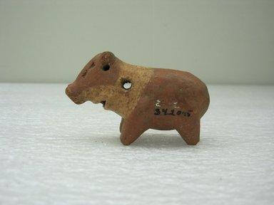 <em>Peccary Figurine</em>, 100 B.C.E.-500 C.E. Ceramic, pigment, 1 11/16 x 1 1/8 x 2 7/8 in. (4.3 x 2.9 x 7.3 cm). Brooklyn Museum, Alfred W. Jenkins Fund, 34.2045. Creative Commons-BY (Photo: Brooklyn Museum, CUR.34.2045.jpg)