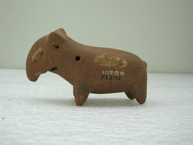 <em>Rattle Form of Tapir</em>, 100 B.C.E.-500 C.E. Ceramic, pigment , 2 3/4 x 4 1/2 x 1 11/16 in. (7 x 11.4 x 4.3 cm). Brooklyn Museum, Alfred W. Jenkins Fund, 34.2172. Creative Commons-BY (Photo: Brooklyn Museum, CUR.34.2172.jpg)