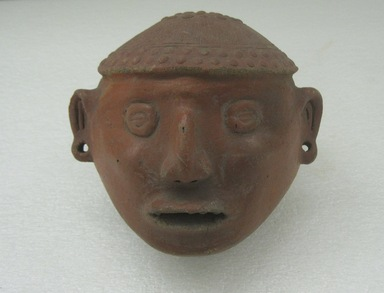 Central Caribbean. <em>Trophy Head</em>, 500-1000. Ceramic, pigments, 6 5/16 x 7 1/2 in. (16 x 19.1 cm). Brooklyn Museum, Alfred W. Jenkins Fund, 34.2231. Creative Commons-BY (Photo: Brooklyn Museum, CUR.34.2231_front.jpg)