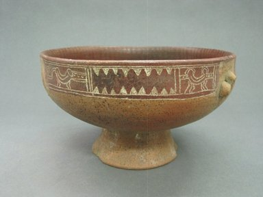 <em>Footed Bowl</em>, 300-800. Ceramic, pigment, 4 3/8 x 8 11/16 x 8 9/16 in. (11.1 x 22.1 x 21.7 cm). Brooklyn Museum, Alfred W. Jenkins Fund, 34.2371. Creative Commons-BY (Photo: Brooklyn Museum, CUR.34.2371_view2.jpg)