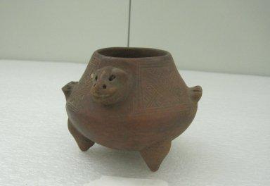 <em>Tripod Jar</em>, 800-1500. Ceramic, pigment, 3 3/16 x 4 7/16 x 4 9/16 in. (8.1 x 11.3 x 11.6 cm). Brooklyn Museum, Alfred W. Jenkins Fund, 34.2375. Creative Commons-BY (Photo: Brooklyn Museum, CUR.34.2375.jpg)
